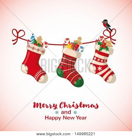 Christmas greeting card with hanging socks in flat style. Vector illustration.