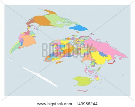 High Detail World map. All elements are separated in editable layers clearly labeled. Vector illustration.