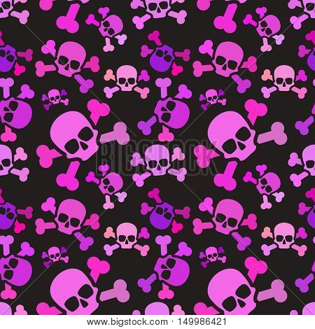 A lot of pink skulls on dark background emo subculture seamless pattern