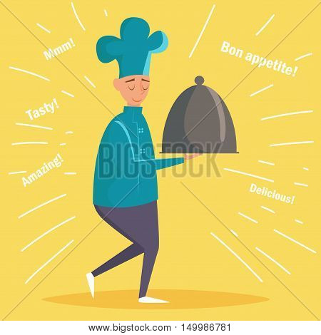 Chef brings a dish. Vector illustration. Cartoon character. Isolated. Illustration for menus and websites