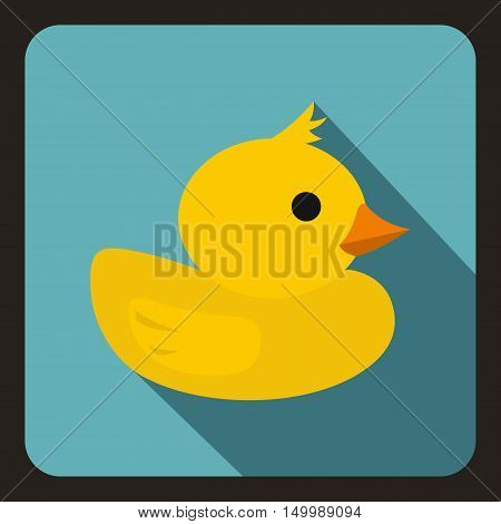 Yellow duck toy icon in flat style on a white background vector illustration