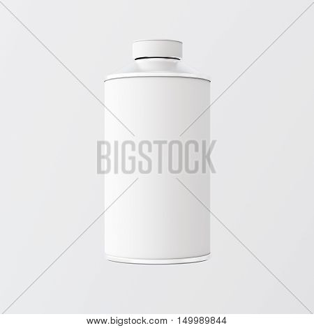 Closeup One Blank White Matte Color Metal Jar Isolated Empty Background.Clean Cup Container Mockup Ready Use Corporate Design Message.Modern Style Drinks Food Storage.Square. 3d rendering