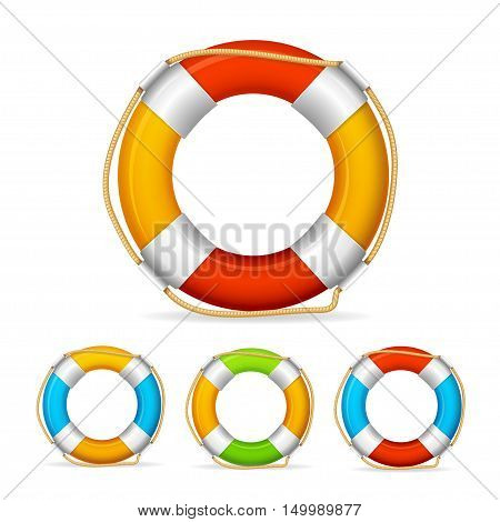 Life Buoy Color Set. Ship Element. Vector illustration