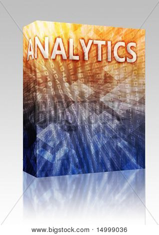 Software pacote caixa Business Analytics intellegence abstrata, computador tecnologia conceito illustrat