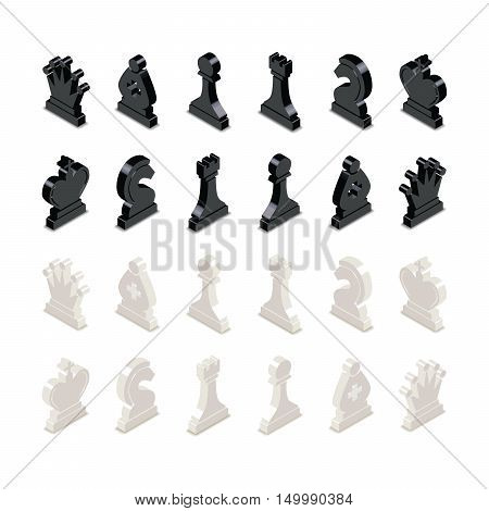 Black and white chess figures in isometric view isolated on white