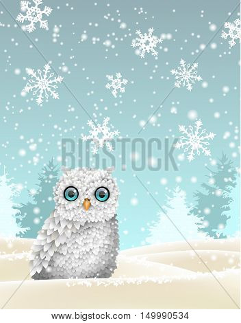 Christmas theme, cute white owl sitting in winter snowy landscape in front of sillhouettes of trees and abstract snowflakes, vector illustration, eps 10 with transparency