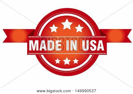 Red made in USA vector stamp isolated on white
