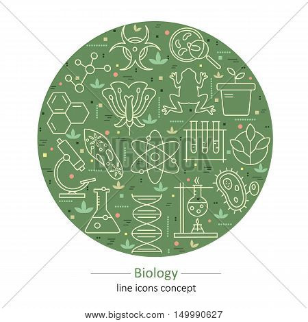 Modern thin line concepts with biology elements. Logo for trendy designs. Vector icons and elements.