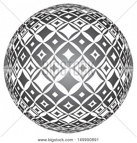 Tiled textured spherical surface. Abstract circle 3D shape. Vector art.