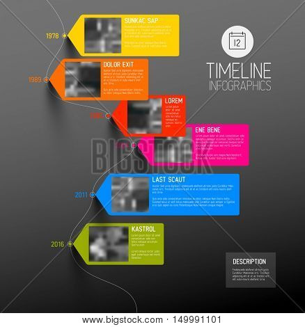 Vector colorful Infographic typographic timeline report template with the biggest milestones, photos, years and description - dark vertical version