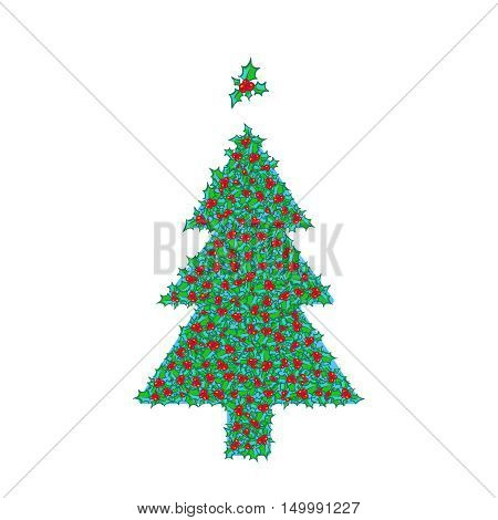 Holly Christmas tree with tree topper ornament. Vector hand drawn background, design element for Christmas and New Year greeting card or banner. Holly with berry clip-art, isolated on white