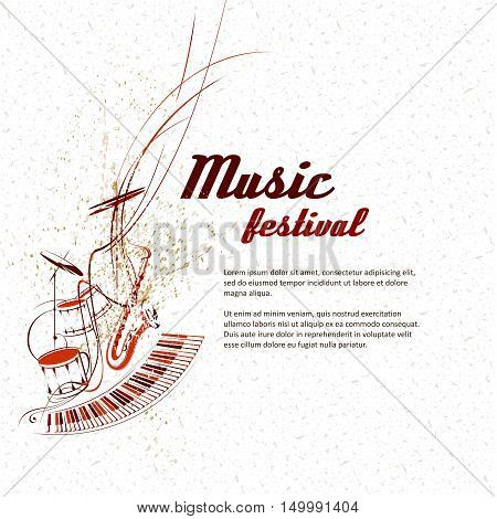 Simplified vector illustration - Music. Notes lines musical instruments.