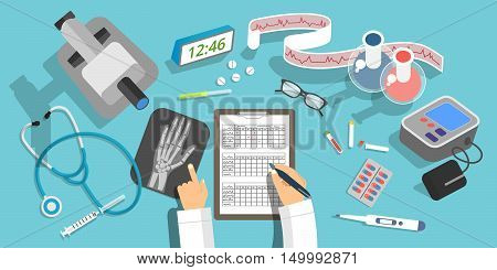 Vector flat design illustration of medicine and healthcare concepts