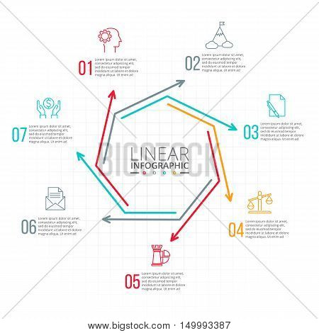Thin line flat heptagon for infographic. Template for diagram, graph, presentation and chart. Business concept with 7 options, parts, steps or processes. Data visualization.