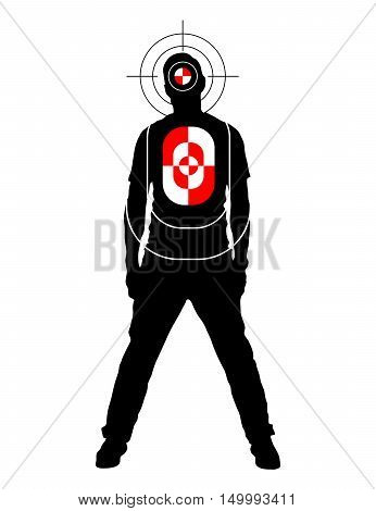 Target for shooting practice in man silhouette shape with marks on head and body isolated on white