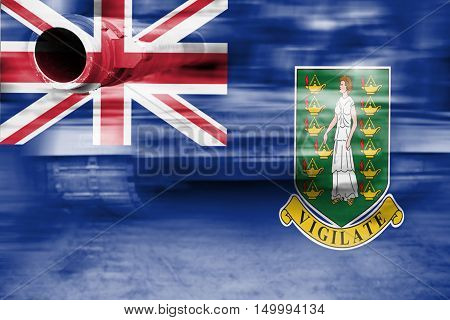 Military Strength Theme, Motion Blur Tank With Virgin Islands, Gb Flag