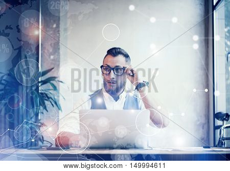 Concept Global Connection Virtual Icon Diagram Graph Interface Innovations Reserch.Bearded Businessman Making Great Business Decisions.Young Man Working Startup Strategy Documents His Hands.Blurred