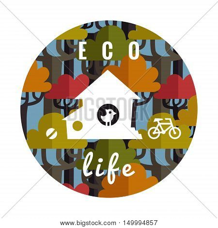 Eco life vector illustration in circle with flat forest house ball bird and bicycle