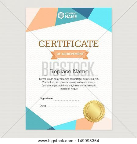 Certificate Vertical Template with Abstract Colored Origami Design. Vector illustration
