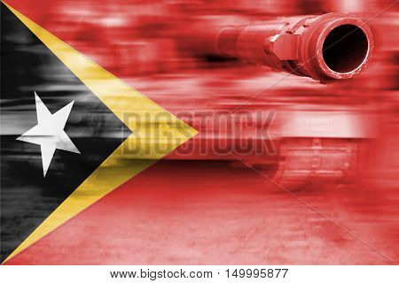 Military Strength Theme, Motion Blur Tank With Timor-leste Flag