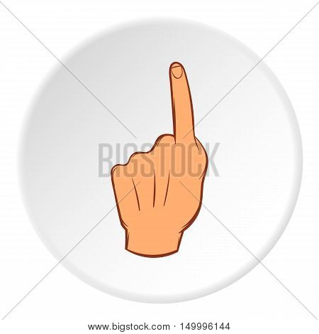 Hand points forward icon in cartoon style on white circle background. Gestural symbol vector illustration