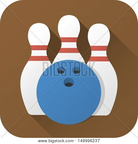 Vector illustration. Toy bowling ball and pins in flat design with long shadow. Square shape icon in simple design. Icon vector size 1024 corner radius 180