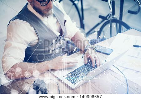 Concept Global Strategy Virtual Icon Diagram Graph Interface Investments Reserch.Bearded Businessman Searching Great Business Decisions.Young Man Working Laptop Startup Project. Blurred Horizontal