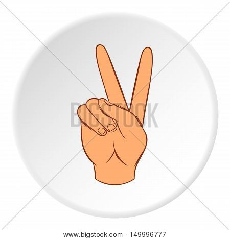 Gesture victoria icon in cartoon style on white circle background. Gestural symbol vector illustration
