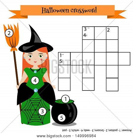 Crossword educational children game with answer. Learning vocabulary. Vector illustration printable worksheet with witch character. Halloween theme