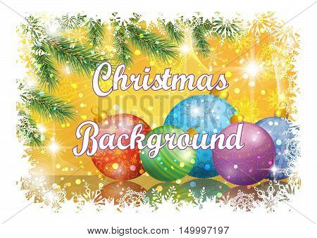 Background for Christmas Holiday Design, Green Fir Coniferous Branches, Glass Balls, Confetti, Flashes and Snowflakes. Eps10, Contains Transparencies. Vector