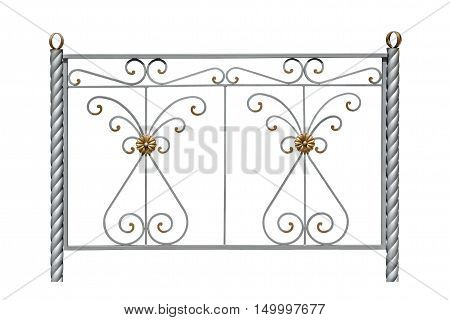 Decorative fence with rosettes in an antique style. Isolated over white background.