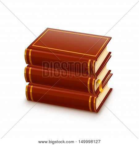 Three thick textbook for education on a white background. Vector illustration