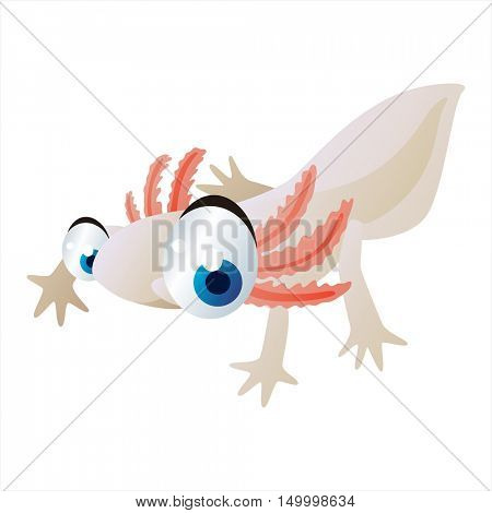 vector comic cute animal illustration. Comic funny cool colorful Axolotl