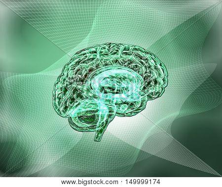 Model of the human brain. Human Brain Project. 3D illustration