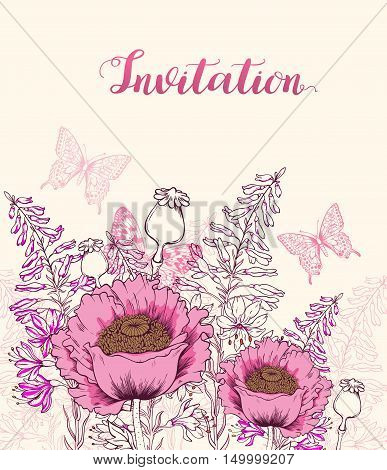 Vector floral background with pink poppy wildflowers and butterfly. Hand drawn vector illustration.