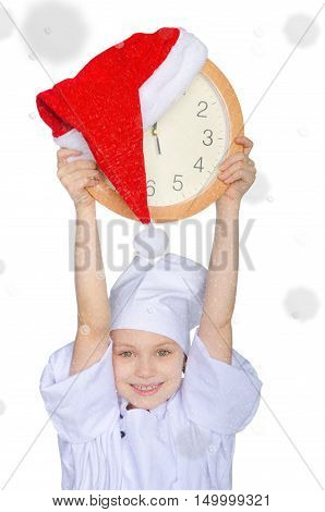 Girl with clock and Santa red hat on white background with snow