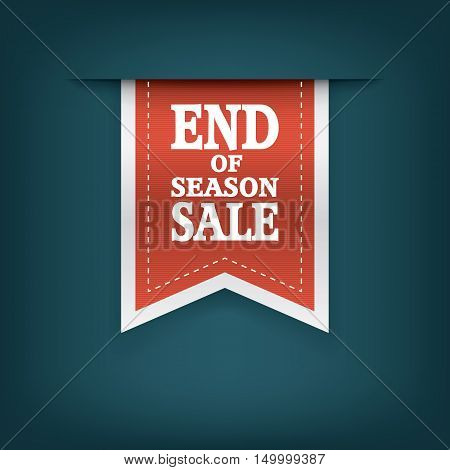 End of season sales ribbon elements. Sale bookmarks with text for websites or e-shops. Advertising promotional sticker. Eps10 vector illustration.