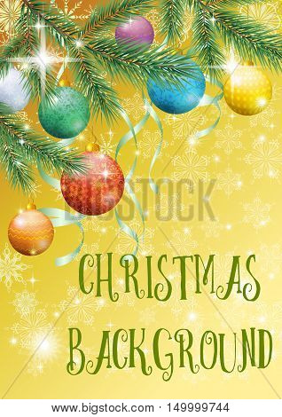 Yellow Background for Christmas Holiday Design, Green Fir Coniferous Branches, Glass Balls, Serpentine Ribbons and Snowflakes Contours. Eps10, Contains Transparencies. Vector