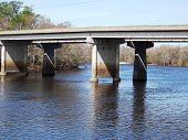 stock photo of suwannee river  - Bridge over the Suwannee River in Florida - JPG