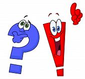 stock photo of punctuation marks  - Vector cartoon of a question and an exclamation marks - JPG
