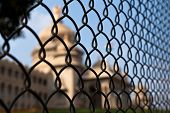 image of vidhana soudha  - Abstract shot of the Vidhana Souda government building behind a fence in Bangalore India - JPG