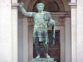 stock photo of spqr  - Statue of the roman emperor Constantine placed in Milan - JPG