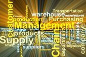 stock photo of supply chain  - Word cloud tags concept illustration of supply chain management glowing light effect - JPG