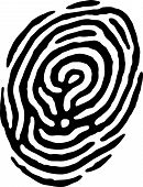 image of dna fingerprinting  - A finger print has a question mark in the middle of it - JPG