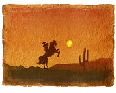 Cowboy In Sunset.old Paper