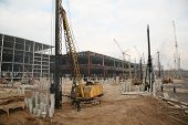 image of oversize load  - Building site - wide view with varios building machinery ** Note: Slight graininess, best at smaller sizes - JPG