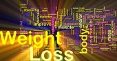 Background concept illustration of weight loss diet glowing light effect
