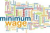 stock photo of sweatshop  - Word cloud concept illustration of minimum wage - JPG