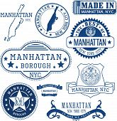 Generic Stamps And Signs Of Manhattan Borough, Nyc poster