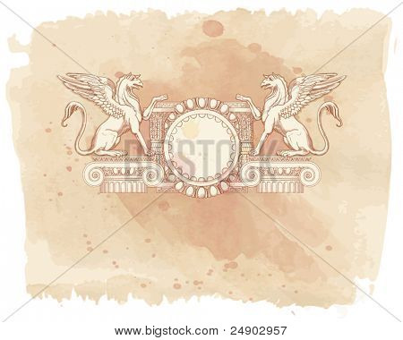 Vintage frame & Griffins, seated on an Ionic column - hand draw sketch & watercolor background